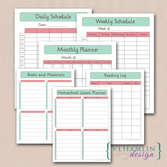 Printable Home School Planner Calendar Schedule By
