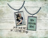 "Custom Pet Dog Photo Necklace pendant ""Who Rescued Who?"""
