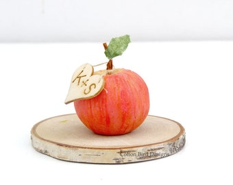 Fourth Wedding Anniversary 1 Mini Clay Apple with Wood Heart add 2 initials