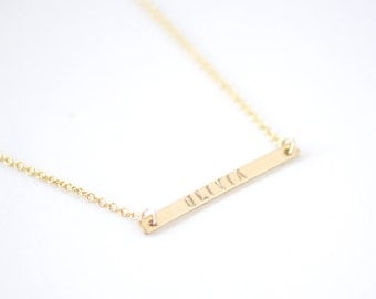 Engraved Gold Bar necklace - gold filled bar necklace - personalized bar necklace - minimalist necklace - handstamped jewelry gift - no. 1