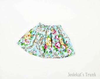 Circa Skirt Twirl Girl Tween Junior Shabby Floral Aqua 4 5 6/6X 7/8 10 12 14 16