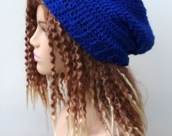 For DeMarcus----Silk wool cashmere Smooth royal blue Slouchy Beanie smaller Dread Tam Hippie baggy Hat, slouchy hat