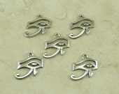 5 Eye of Ra Egyptian Charms > Egypt Symbol Hieroglyphics Valley of the Kings - Raw American made,  Lead Free Pewter - I ship internationally