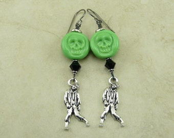 Zombie Lampwork Bead Earrings - Halloween Scary Horror Walking Dead Green Black Skull Apocalypse costume - Hypoallergenic Niobium Ear Wires