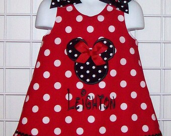 Red Polka Dot Mnnie Mouse Black Dot Applique and Bows with Monogram A-line Dress