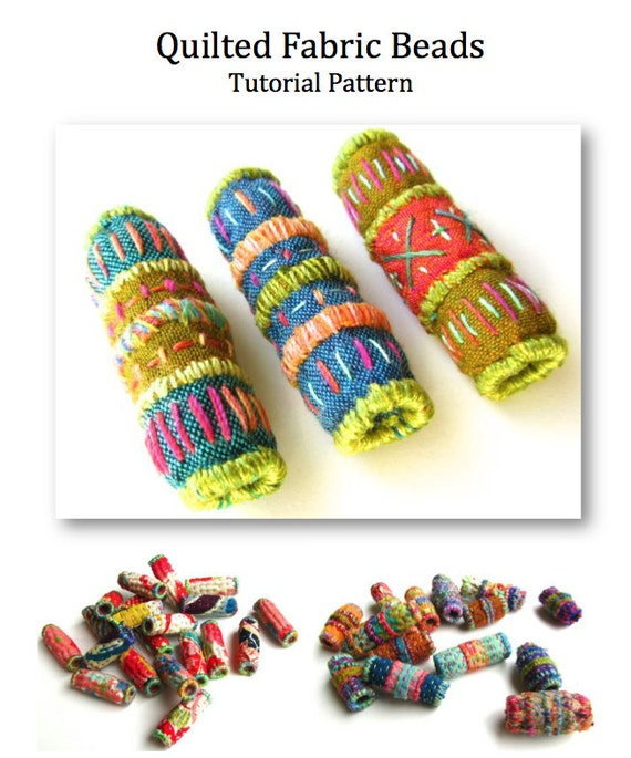 Quilted Fabric Beads PDF Tutorial Pattern. Embroidery Bead Pattern. Instant Download. Digital Craft Pattern. Jewelry & Beading PDF Pattern.