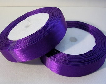 "Satin Ribbon (R55A) 3/4"" wide Violet Purple - 25 yard Spool Ribbon //Crafts DIY Wedding Streamers Dreamcatchers Bows Party Decor"