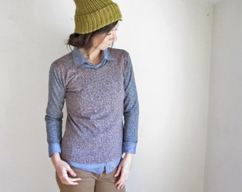 Marled Hemp Lightweight Sweater, Color Block, Organic Cotton, Long Sleeve Shirt, Custom Made to Order