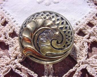 Antiqued Gold Art Deco Spiral Czech Glass Button