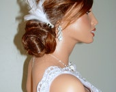 White Feather Black and White Pearl Side Comb Hairpin Bridal Fascinator Wedding Hair Pin