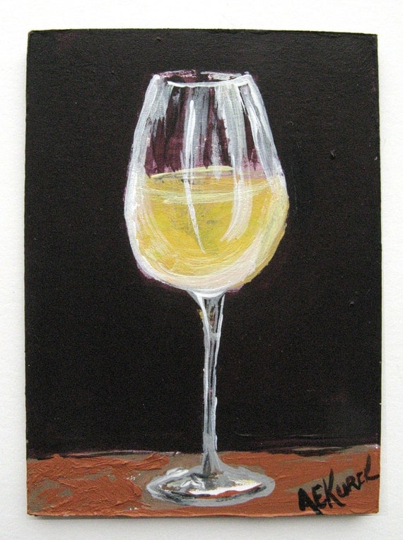 White wine glass painting wine art original by for How to paint a wine glass with acrylics
