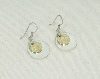 Brass and silver dangle earrings