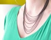 Draped black chain necklace - Multi chain necklace - Minimalist