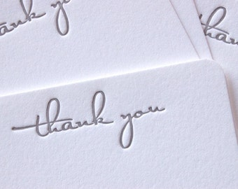 Note Cards - LETTERPRESS - Petite Thank You No. 2 - Set of 24 by Invited Ink