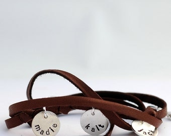 Personalized Bracelet - Leather Wrap Bracelet - Mom Bracelet - Personalized Custom Jewelry  - EcoFriendly Recycled Silver - for the Hip Mom