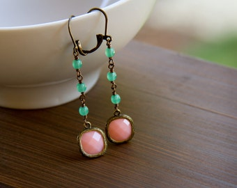 Cute and Sweet Bronze Earrings with a Peachy Pink Square and Aqua Czech Glass Beads