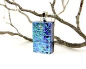 Fused Glass Pendant-  Fused Glass Jewelry- Cobalt Blue Dichroic Pendant- Fused Glass Necklace- Cobalt Blue