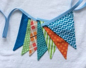 Fabric Bunting Banner Flags for Boys or Girls,  See 1st IMAGE, Garland Pennant Flags, Med. Flags in Orange, Blue, n Green Party Decor, Prop