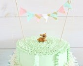 Mini Cake Banner in Mint, Pink, Metallic Gold Fabric Bunting Flag Banner, Garland Bunting.  Chevrons, Dots. Weddings, Birthdays Decor.