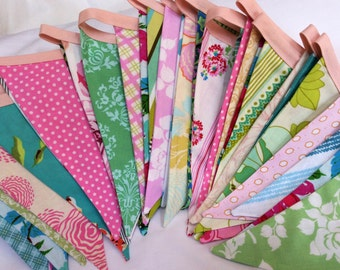 Pastel Vintage Bunting 28' LONG Flag Banner. Wedding, Birthday, Bedroom Decor. Ready 2 Ship. Floral Shabby Chic Sweet Colorful Pennant Flags