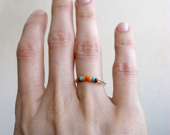 Beaded Ring - Colorful Seed Beads