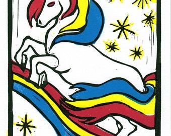 Unicorn - 4 plate color linocut print