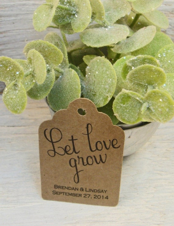 100 small let love grow personalized wedding favor tags for Small tags for wedding favors