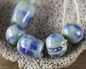 Handmade stoneware ceramic beads Blue Assortment (5)
