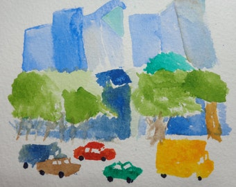 Manhattan, original painting, watercolour, watercolor, painting, small painting, gift idea, home decor