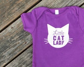 Little Cat Lady Organic Cotton One Piece in Violet Purple with White print - Baby Shower Gift, Cat Baby, Infant, Cat Lover, Cat People