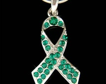Swarovski Crystal Liver Cancer Homeopathy Awareness Emerald Green Pendant Charm Necklace Best Friend Family Christmas Birthday Gift New
