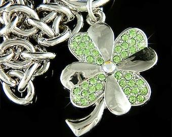 Irish Swarovski Crystal Saint Patrick's Day Lucky Green Four Leaf CLOVER SHAMROCK Pendant Charm Chain Bracelet Jewelry New Christmas Gift