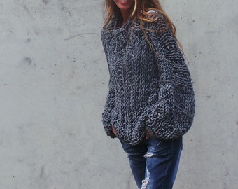 Gray sweater, Womens gray chunky oversized sweater  chunky slouchy sweater gray sweater
