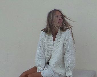 women's Ivory chunky sweater / white sweater/ hand knit sweater / women's cardigan / women's sweater / alpaca mix sweater / long cardigan