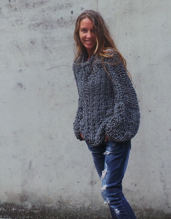 Gray sweater Womens gray chunky oversized sweater chunky