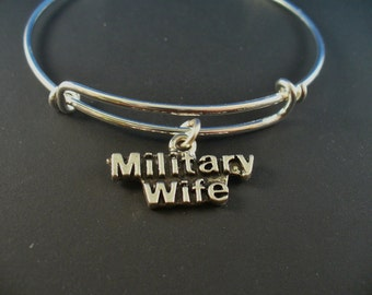 Military Wife,Stainless Steel Bangle Bracelet,Army Wife,Navy Wife, Air Force Wife, Marine, Charm Bangle, Trendy Style, Gift For Her
