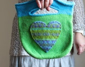 Felted Whimsical knit bag. Green. Turquoise. Purple. Heart.