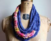 Knit Statement necklace. Scarflette Purple. Periwinkle. Pink.  Boho Jewelry. Ready to ship.