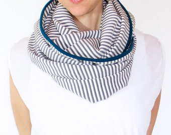 Infinity Nursing Scarf , White, Grey Stripes