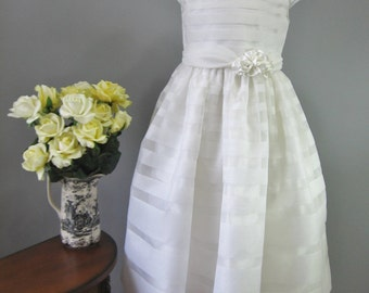 Spanish Style First Communion Dress Silk - Monica, by Embroidered Heirlooms