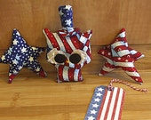 Primitive Uncle Sam Hoot Owl and Stars bowl filler Ornament Decorations