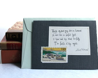 Though my soul may set in darkness, it will rise in perfect light Card with written quote and postal stamp Dark Grey