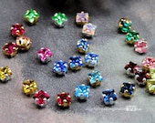 4 Pcs Vintage Swarovski Crystal 4mm Square Rhinestone Sew On 19 Colors With Prong Settings Crystal Sew On Craft Supplies Jewelry Making
