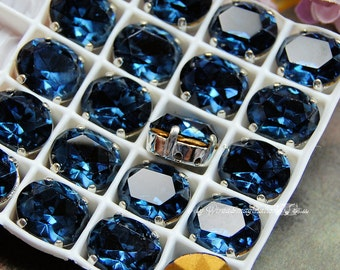 Dark Montana Blue Sapphire, Vintage Swarovski Crystal, 12x10mm Oval Crystal, Sew On Article 4120 Oval ,Jewelry Making September Birthstone