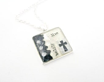 Christian Cross Live Boldly Necklace Black White Silver
