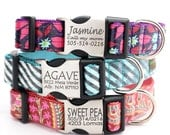 Personalized Laminated Cotton Laser Engraved Dog Collar with Metal Buckle - 13 styles