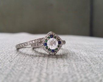 """Halo White Sapphire Diamond Sapphire Emerald Ring Gemstone Engagement Ring Double Halo Blue Green Setting 14K White Gold  """"The Lillie Belle"""""""