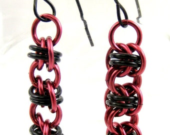 Chainmaille Earrings, Black and Burgundy, Black and Dark Red, Black and Garnet Chainmail Jewelry