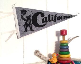Pennant California Silkscreen Screenprint on Grey Wool Felt