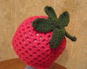 Crocheted Strawberry or Tomato Hat Any Size Made to Order